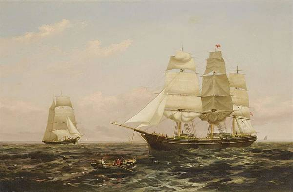 Painting - Xanthus Russell Smith 1839 - 1929 Hove To For The Pilot by Artistic Panda