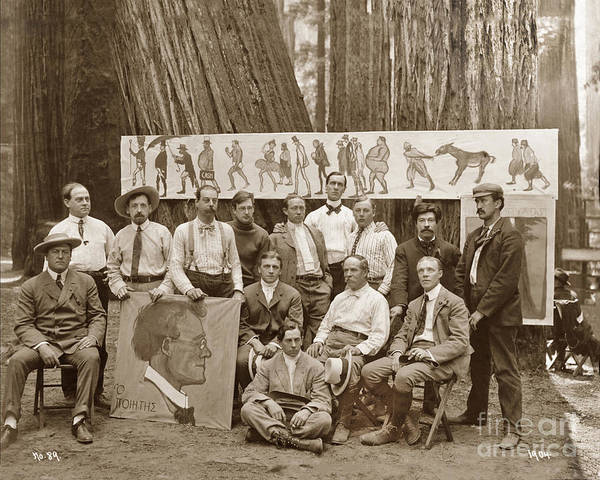 Photograph - Xavier Martinez 13 Men Sitting And Standing In Camp, At The Bohemian Grove 1904 by California Views Archives Mr Pat Hathaway Archives