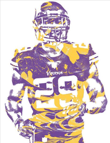 Wall Art - Mixed Media - Xavier Rhodes Minnesota Vikings Pixel Art 2 by Joe Hamilton