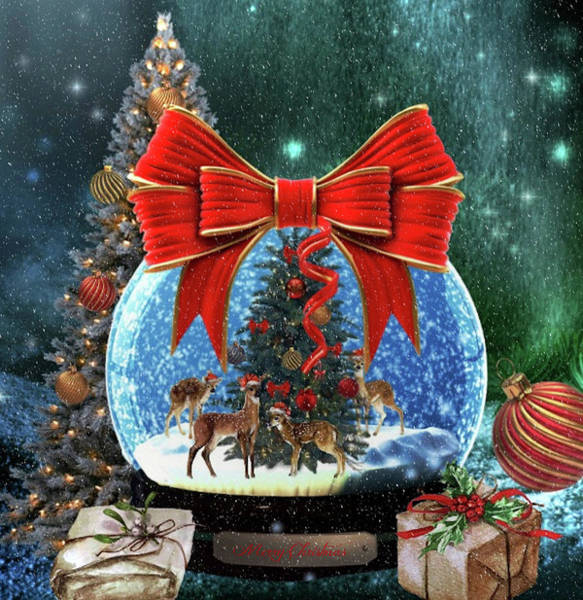Deer Mixed Media - Christmas Snowglobe by G Berry