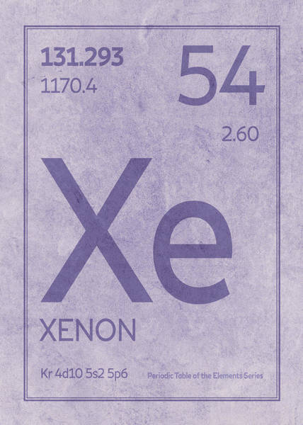 Elements Mixed Media - Xenon Xe Element Symbol Periodic Table Series 054 by Design Turnpike