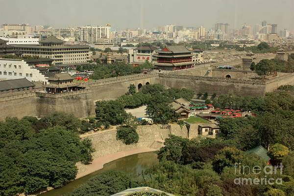 Xi Photograph - Xi'an City Wall With Skyline by Carol Groenen