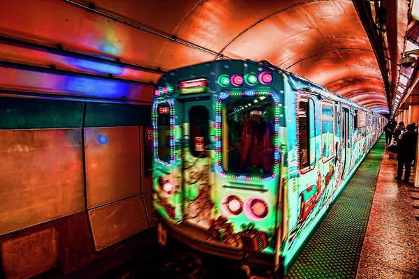 Photograph - Xmas Subway Train by Sven Brogren