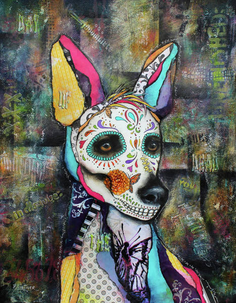 Art Paper Mixed Media - Xolo Mexican Hairless Day Of The Dead by Patricia Lintner