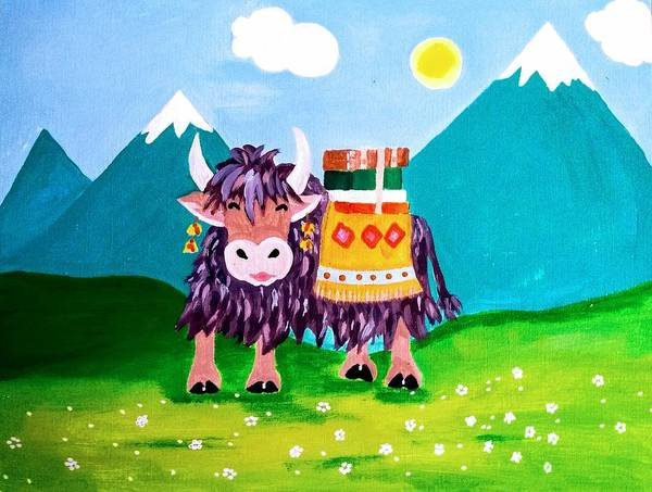 Yak Painting - YAC by Becky Wishum