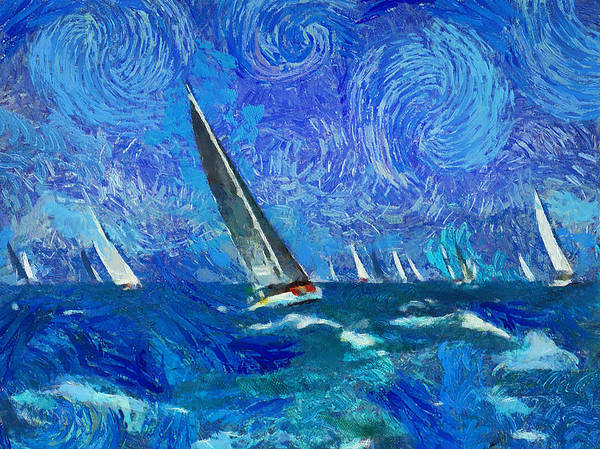 Daylight Digital Art - Yacht Regatta Leader by Yury Malkov