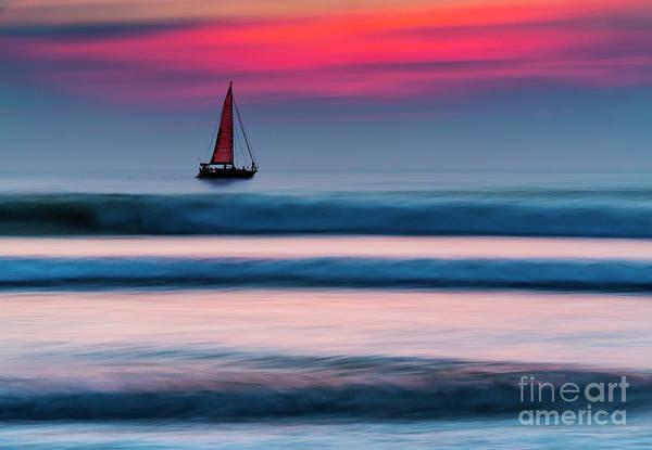 Yacht Sailing At Sunset Art Print