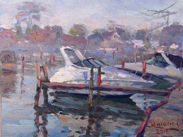 Yacht Wall Art - Painting - Yachts At The Harbor by Ylli Haruni
