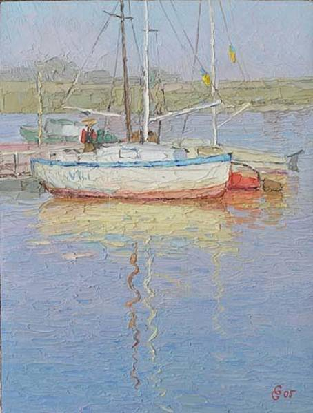 Russian Impressionism Wall Art - Painting - Yachts by Gregory Gamaley