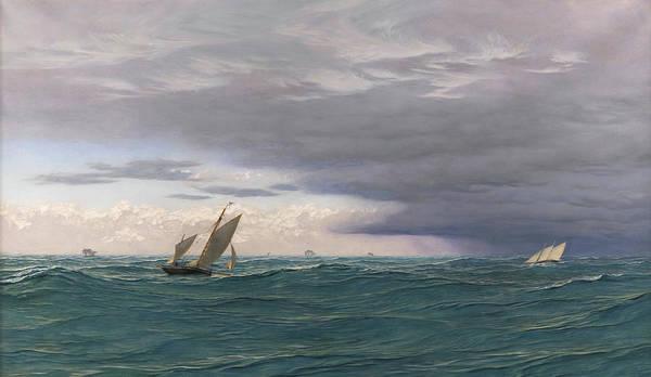 Brett Wall Art - Painting - Yachts In A Seaway, Mediterranean, 1871 by John Brett