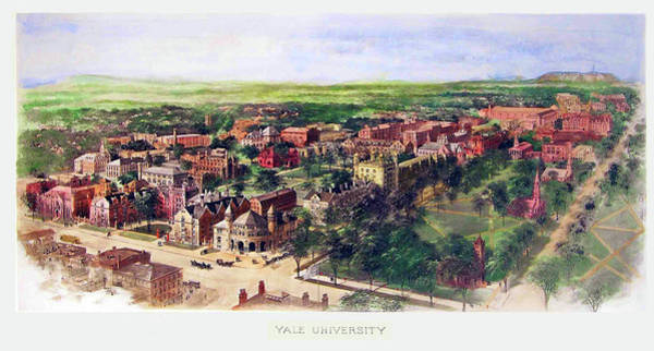 College Campus Painting - Yale University 1906 by Mountain Dreams