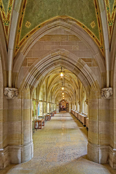 Photograph - Yale University Cloister Hallway by Susan Candelario