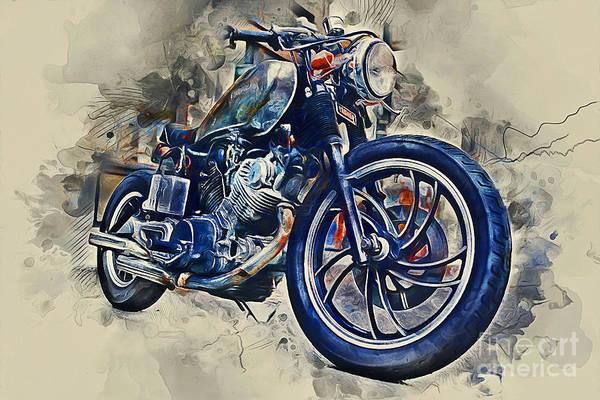 Speed Mixed Media - Yamaha Motorbike by Ian Mitchell