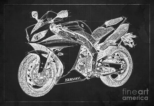 Fast Mixed Media - Yamaha R1 Blueprint Dark Grey Background by Drawspots Illustrations