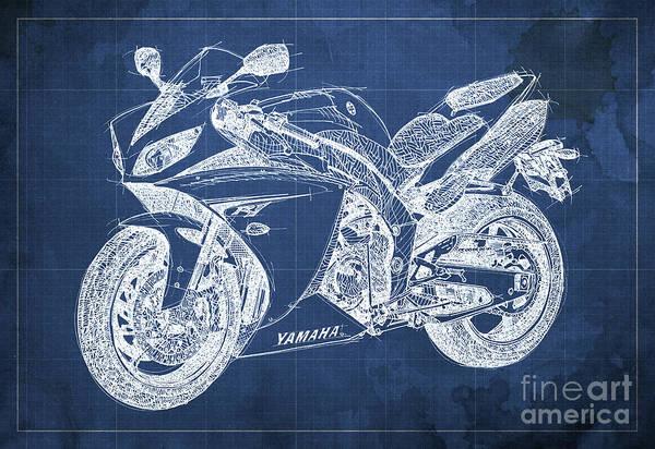 Man Cave Drawing - Yamaha R1 Blueprint by Drawspots Illustrations