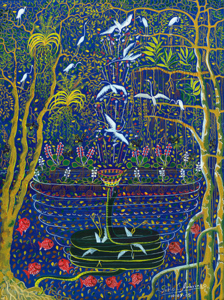 Art Print featuring the painting Yana Yacumama  by Pablo Amaringo