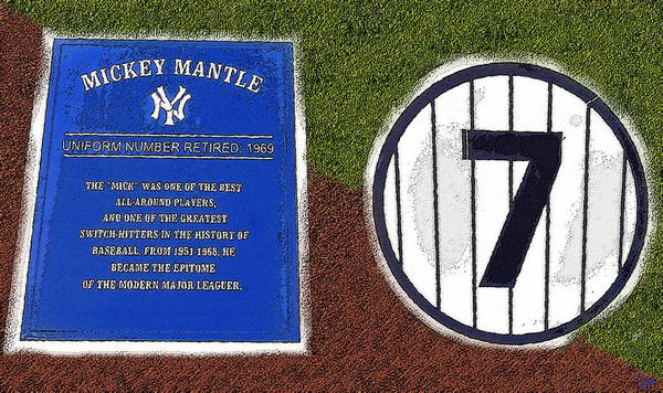 Mickey Mantle Wall Art - Painting - Yankee Legends Number 7 by David Lee Thompson
