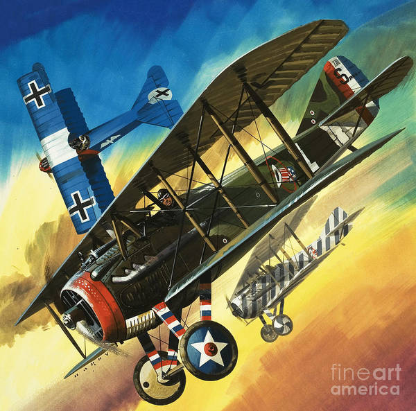 Air War Painting - Yankee Super Ace Edward Rickenbacker by Wilf Hardy