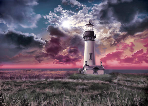 Wall Art - Painting - Yaquina Head Lighthouse 2 by Bekim M
