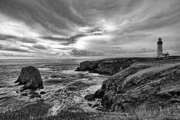 Photograph - Yaquina Head Lighthouse Bw by Jedediah Hohf