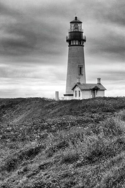 Photograph - Yaquina Head Lighthouse - Monochrome by Harold Rau