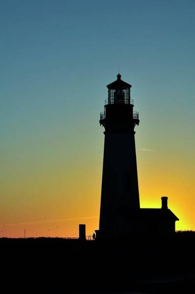 Photograph - Yaquina Head Lighthouse Sunset by Jerry Sodorff
