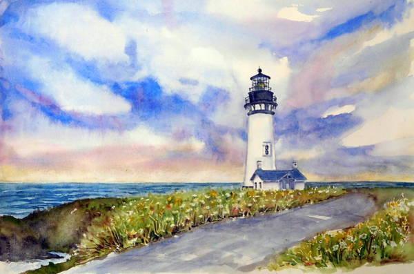 Painting - Yaquina Head Lighthouse - Springtime by Anna Jacke
