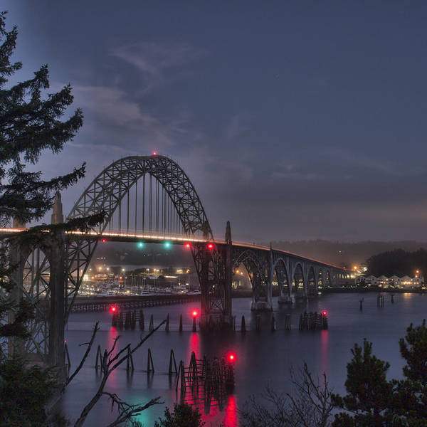 Photograph - Yaquina Night Crossing by HW Kateley