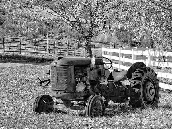 Photograph - Yard Art Tractor Bw by David King