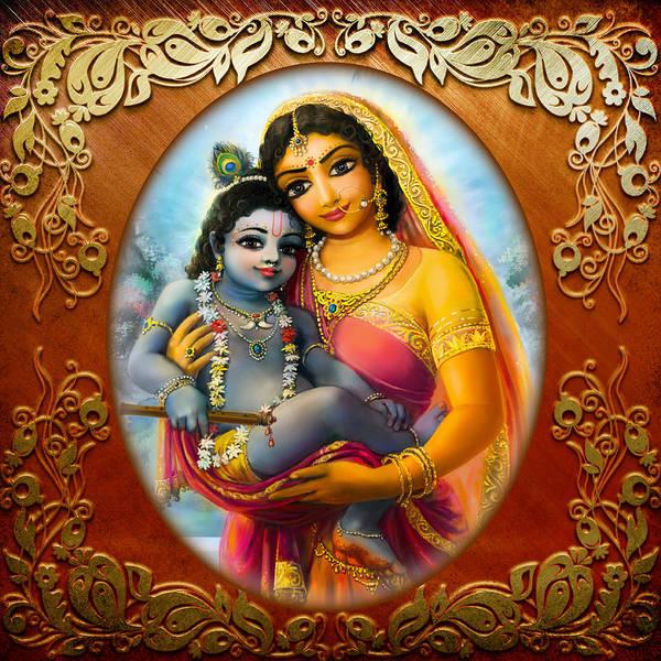 Wall Art - Mixed Media - Yashoda And  Krishna 3 by Lila Shravani