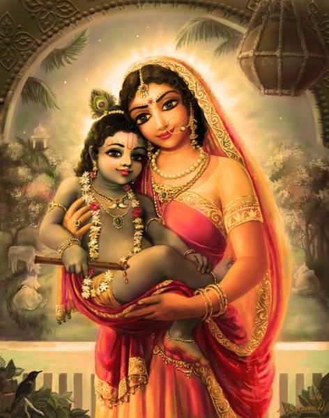 Wall Art - Mixed Media - Yashoda And  Krishna 4 by Lila Shravani