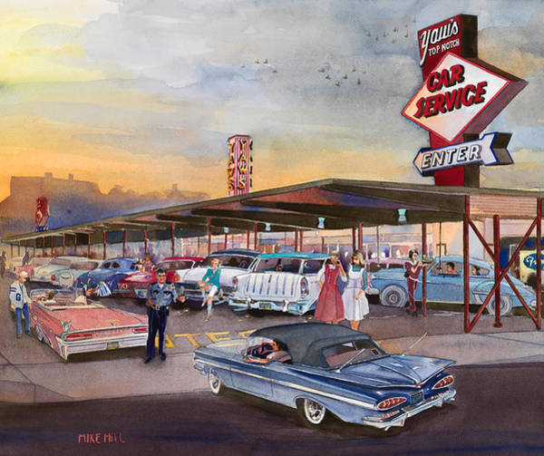Drive-ins Painting - Yaw's Top Notch Drive In by Mike Hill