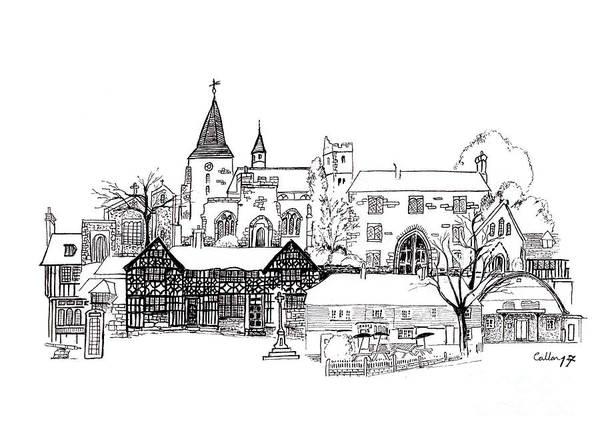 Quaint Drawing - Ye Olde English Pub by Callan Art