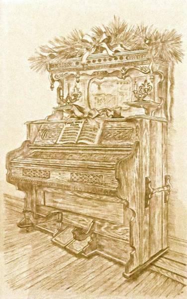 Pump Drawing - Ye Olde Pump Organ by Janice Petrella-Walsh
