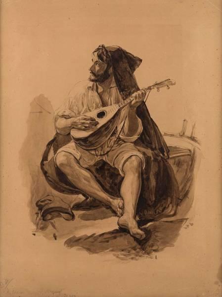 Painting - Yegor Ivanovich Makovskiy Russian 1802-1886 Musician by Artistic Panda