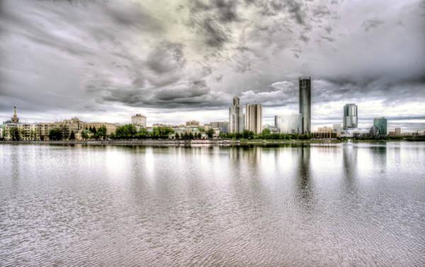 Photograph - Yekerterinburg City Pond And Business Skyline by John Williams