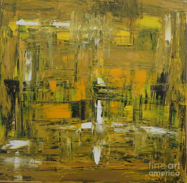 Painting - Yellow And Black Abstract by Jimmy Clark