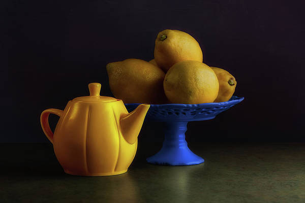 Citrus Fruit Photograph - Yellow And Blue Still Life by Tom Mc Nemar
