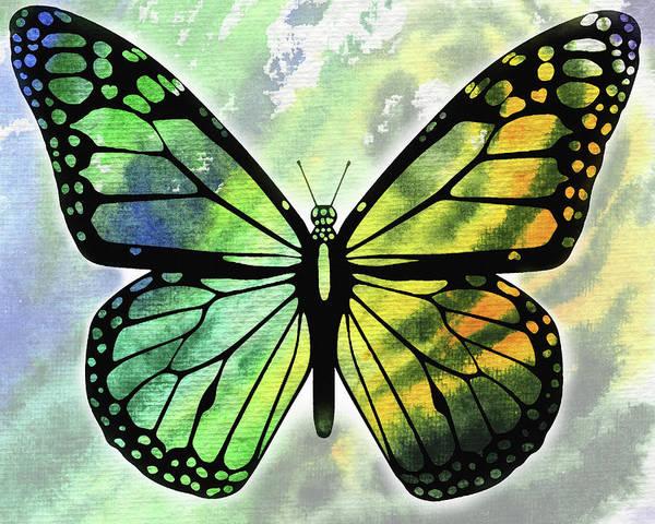 Wall Art - Painting - Yellow And Green Watercolor Butterfly  by Irina Sztukowski