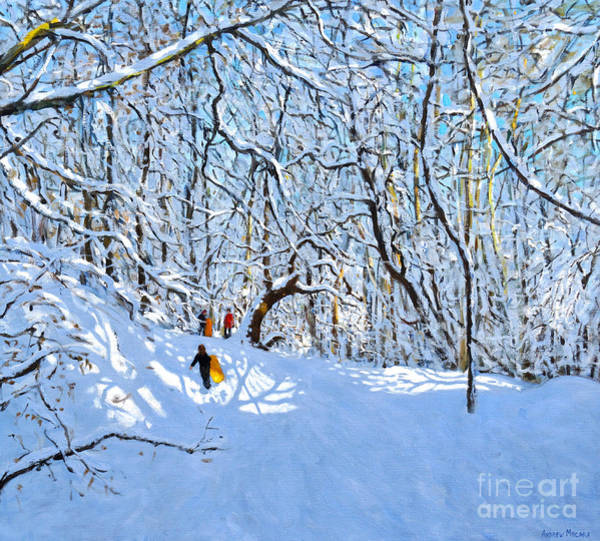 Happy Little Trees Painting - Yellow And Oranges Sledges, Allestree Park, Derby by Andrew Macara