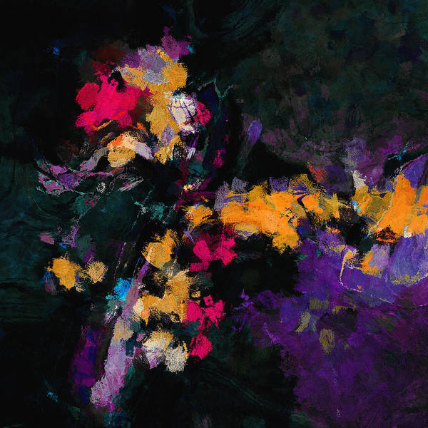 Painting - Yellow And Purple Abstract / Modern Painting by Inspirowl Design