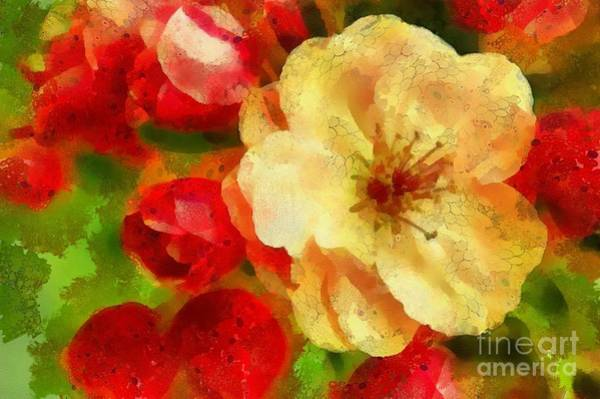 Painting - Yellow And Red Floral Delight by Catherine Lott