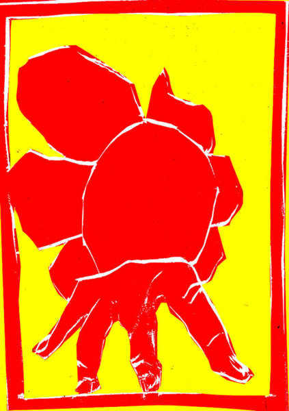 Digital Art - Yellow And Red Series - Hand And Flower by Artist Dot