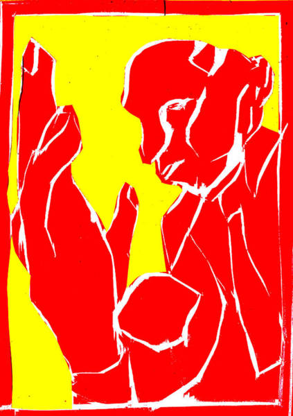 Digital Art - Yellow And Red Series - Man And Hand by Artist Dot