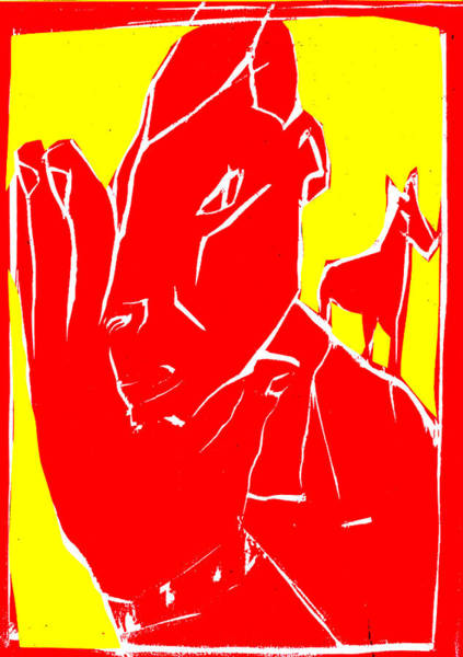 Digital Art - Yellow And Red Series - Man Leaves Horse by Artist Dot