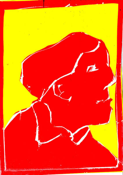 Digital Art - Yellow And Red Series - Passing Woman by Artist Dot