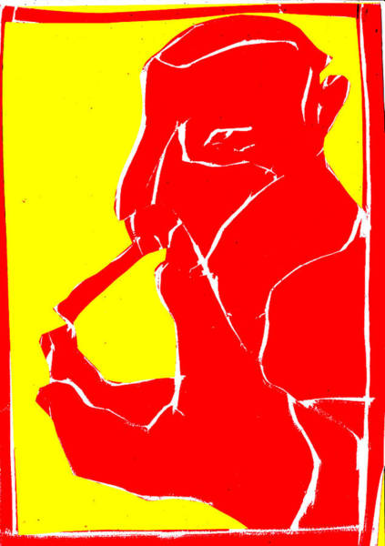 Digital Art - Yellow And Red Series - Smoker Smoking At Finger by Artist Dot