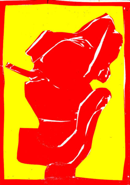 Digital Art - Yellow And Red Series - Smoker Smoking by Artist Dot