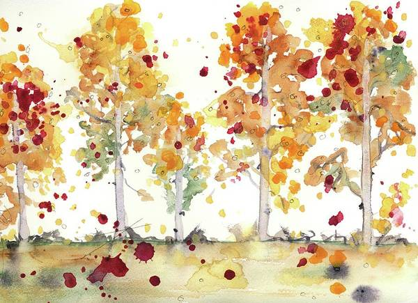 Painting - Yellow Aspens by Dawn Derman
