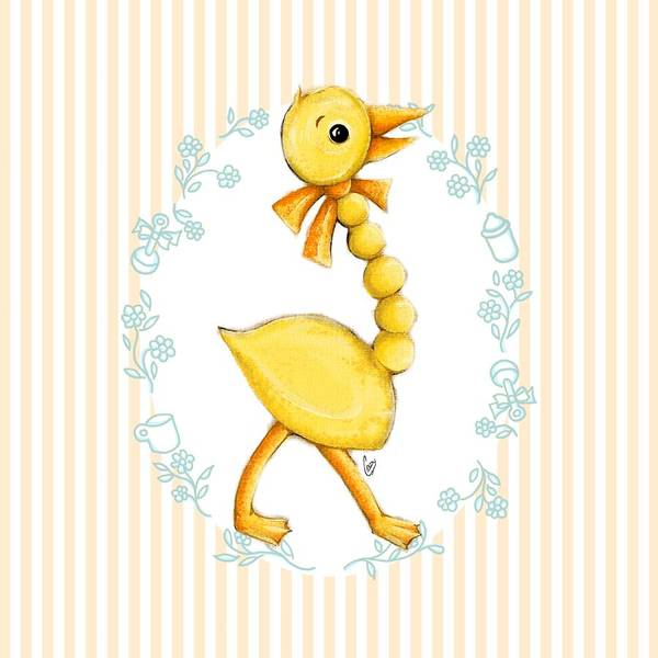 Wall Art - Digital Art - Yellow Baby Duck by Cindy Garber Iverson
